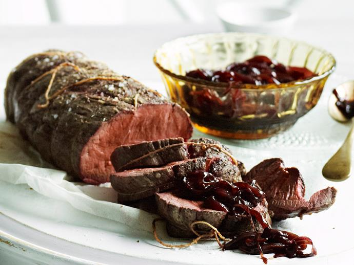 """[Rare roast fillet of beef with onion marmalade](https://www.womensweeklyfood.com.au/recipes/rare-roast-fillet-of-beef-with-onion-marmalade-25528 target=""""_blank"""")"""