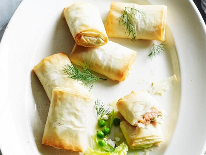 "**[Smoked salmon and ricotta filo hand pies](https://www.womensweeklyfood.com.au/recipes/smoked-salmon-and-ricotta-filo-hand-pies-25534|target=""_blank"")**"