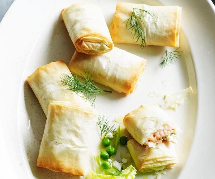 Smoked salmon and ricotta filo hand pies