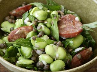 Broad Bean, Lentil and Chorizo Salad