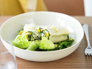 Spinach, Corn and Fetta Cannelloni