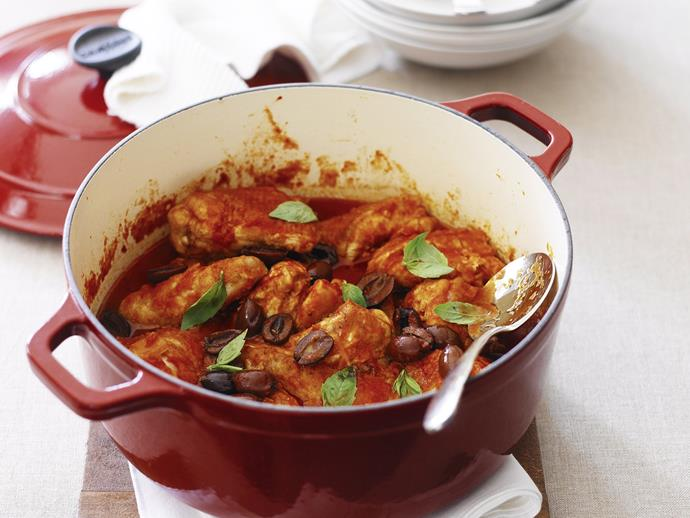 """This [hearty casserole](https://www.womensweeklyfood.com.au/recipes/chicken-cacciatore-casserole-25585