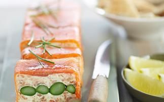 Smoked salmon and asparagus terrine