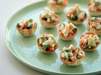 Goat's Cheese, Avocado and Smoked Salmon Cups