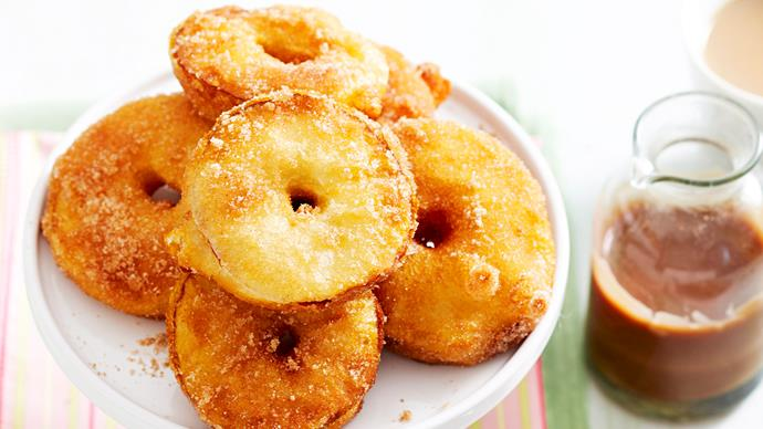 Apple fritters with choc-caramel sauce