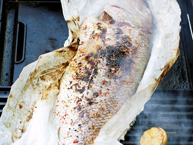 Barbecued whole fish