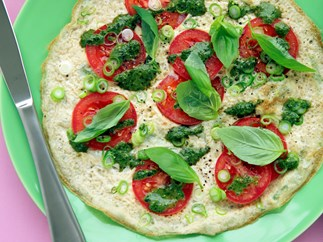 Open-Faced Omelette with Tomato and Pesto