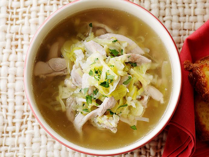 "**[Chicken and leek soup](https://www.womensweeklyfood.com.au/recipes/chicken-and-leek-soup-25659|target=""_blank"")**  Comfort in a bowl."