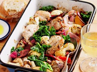 Chicken and kale tray bake