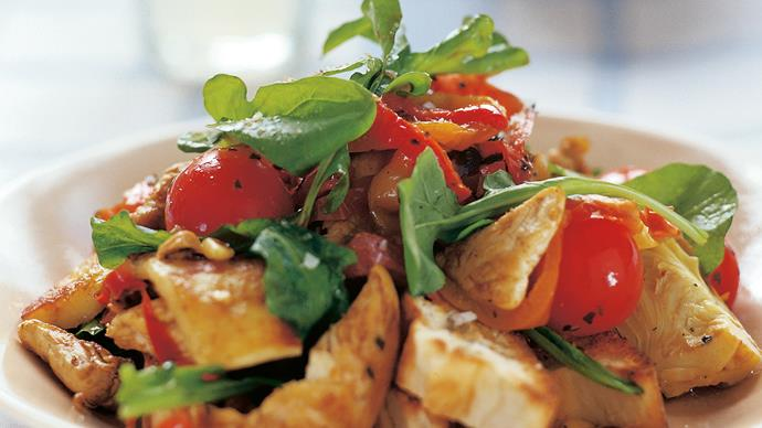 Chicken Pide and Haloumi Salad