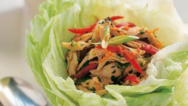 Thai chicken in lettuce leaf cups