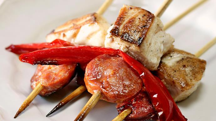 Chorizo and Fish Kebabs