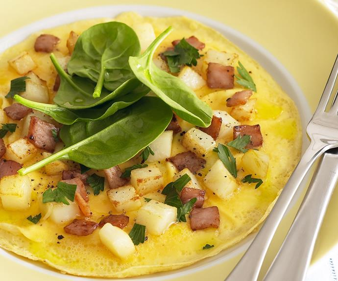 Potato, Bacon and Cheese Omelette