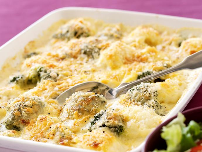 "**[Cauliflower and broccoli gratin](https://www.womensweeklyfood.com.au/recipes/cauliflower-and-broccoli-gratin-26929|target=""_blank"")**  Who doesn't love this cheesy vegie side dish? Great with roast dinners, and a clever way to make otherwise boring vegetables tastier for kids."