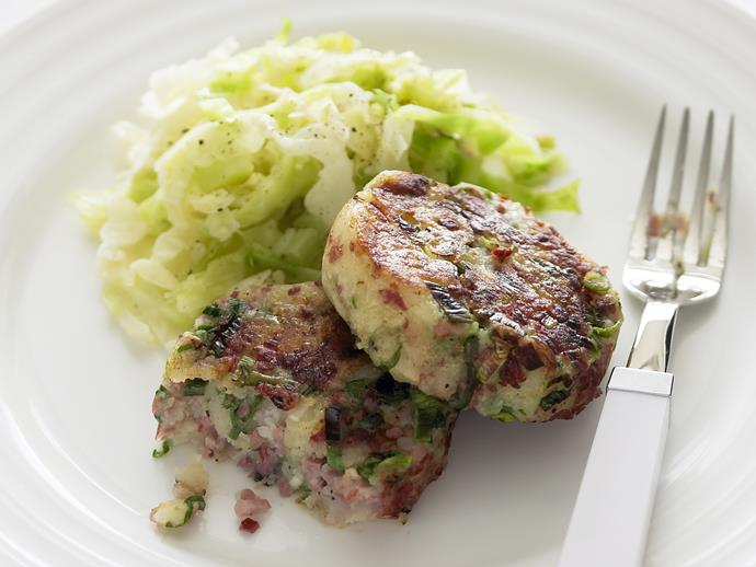 "**[Corned beef patties with braised cabbage](https://www.womensweeklyfood.com.au/recipes/corned-beef-patties-with-braised-cabbage-25291|target=""_blank"")**"