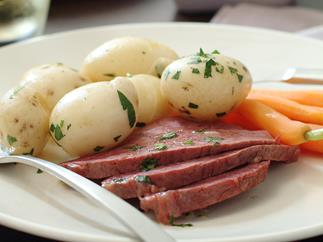 Corned beef silverside with parsley chat potatoes
