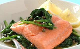 Ocean Trout with Caper and Herb Buttered Spinach