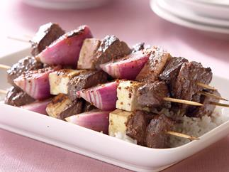 Everyday Eating Beef, Onion and Haloumi Kebabs