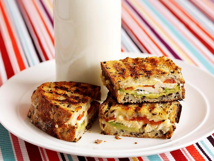 """[Chicken, avocado and camembert jaffle](https://www.womensweeklyfood.com.au/recipes/chicken-avocado-and-camembert-jaffle-24842