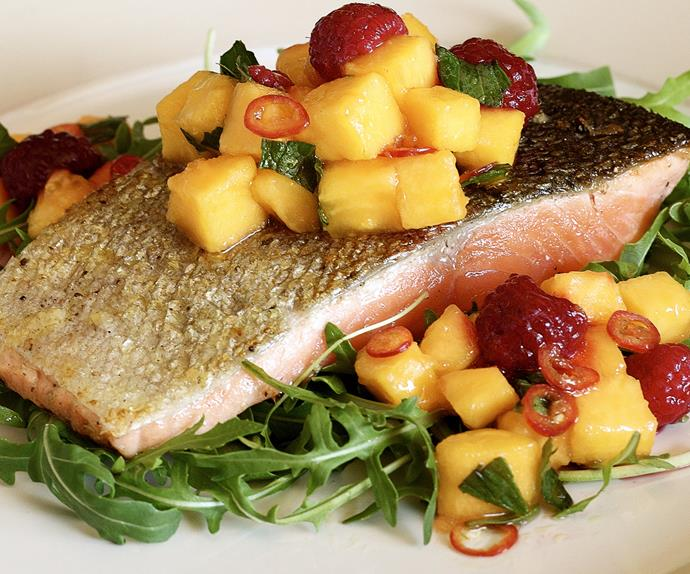 Crispy Ocean Trout with Pawpaw Salsa