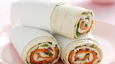 Kumara, feta and mint wrap