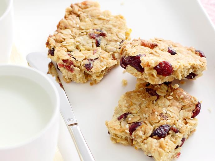 "**[Muesli slice](https://www.womensweeklyfood.com.au/recipes/muesli-slice-24882|target=""_blank"")**  You can experiment with all kinds of dried fruit for this recipe. Filled with the goodness and energy of oats, it's the perfect kid refueller."