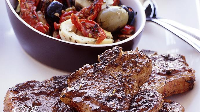 Garlic Lamb Chump Chops with Roasted Capsicum