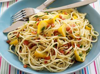 Pasta with Garlic Patty Pan Squash