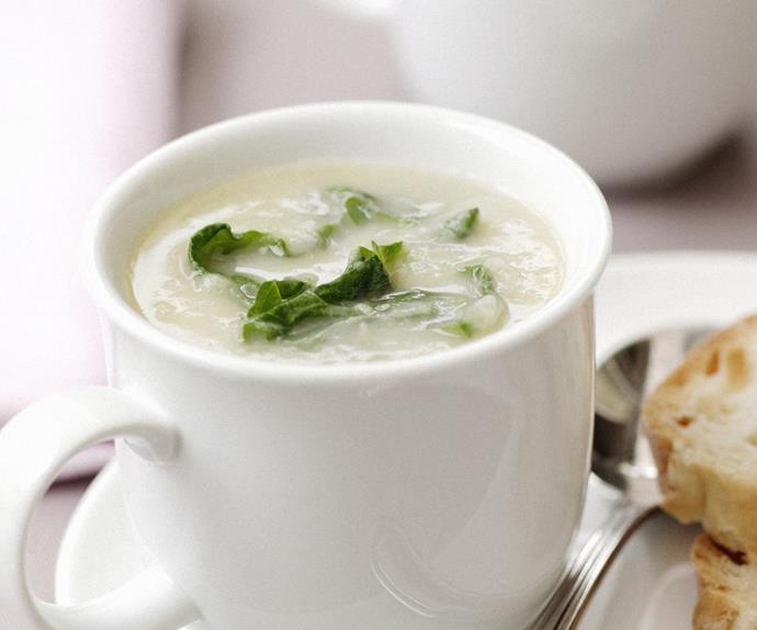 Leek and Potato Soup with Silverbeet