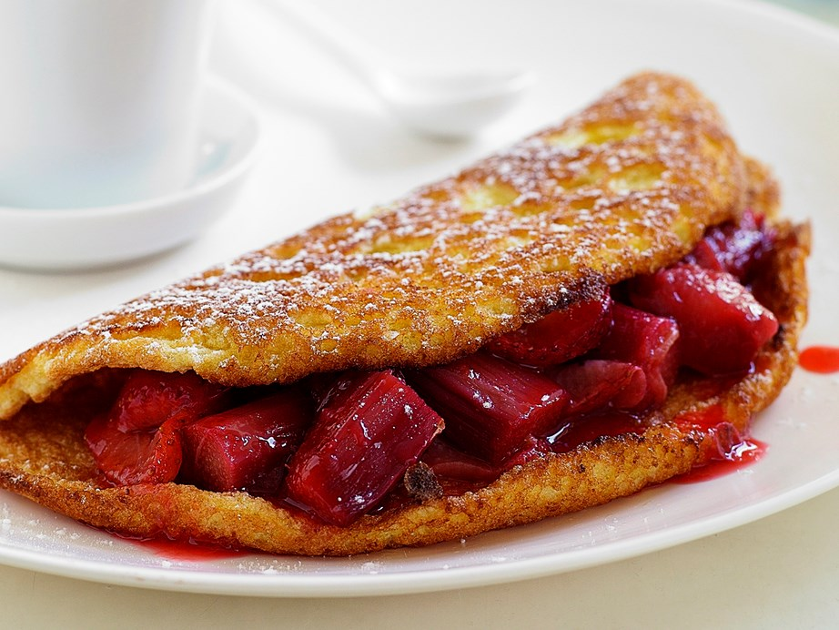 "**[Rhubarb and strawberry souffle omelette](https://www.womensweeklyfood.com.au/recipes/rhubarb-and-strawberry-souffle-omelette-24426|target=""_blank"")**  Omelettes don't always have to be savoury. Put some sugar and berries into it and voila, you have yourself a dessert (or a sweet breakfast if that's more your style)."