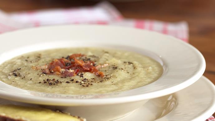 Jerusalem Artichoke Soup with Garlic and Cheese Toast