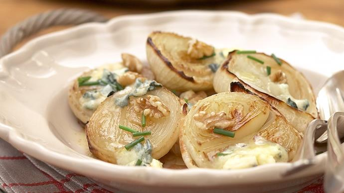 Roast White Onions with Blue Cheese