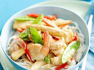 Thai green curry prawns