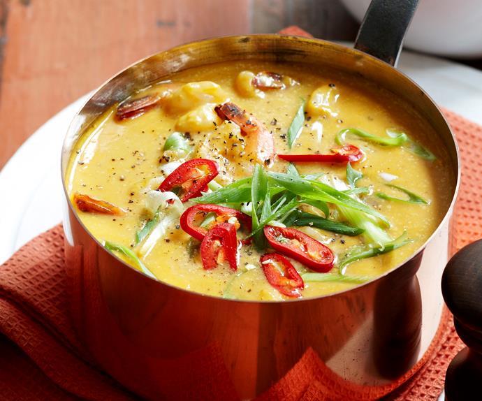 Thai prawn and pumpkin soup