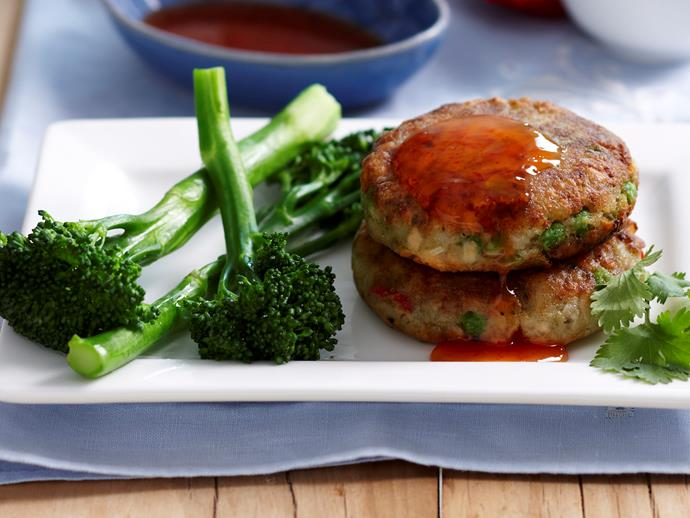 "These [fish cakes](https://www.womensweeklyfood.com.au/recipes/thai-salmon-cakes-10087|target=""_blank"") can be made with canned tuna or even cold leftover fish."