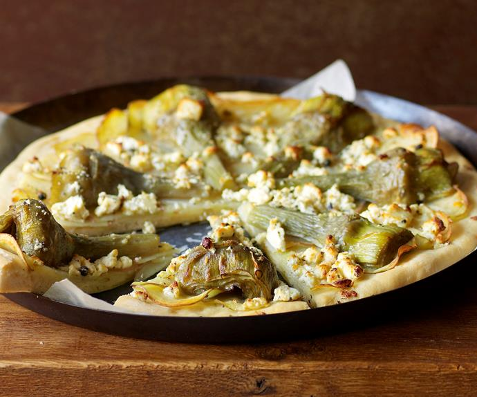 Artichoke, potato and fetta pizza