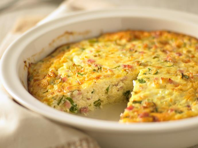 "**[Impossible quiche](https://www.womensweeklyfood.com.au/recipes/impossible-quiche-24126|target=""_blank"")**  This crustless quiche is impossibly quick to make, hence its name. Try it, you'll love it!"
