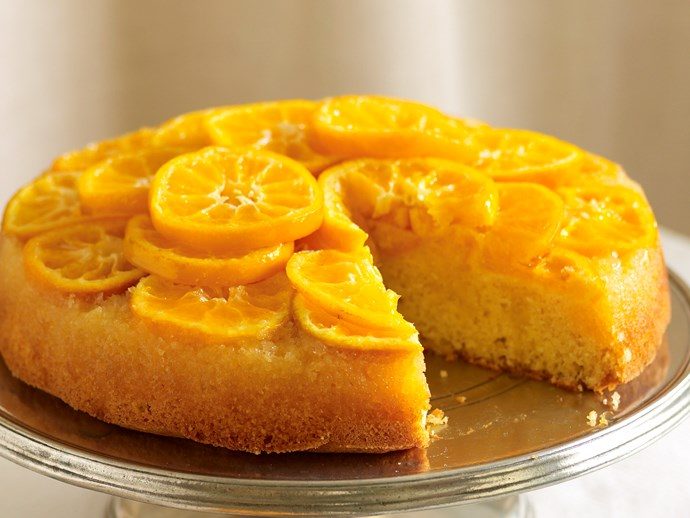 Mandarin and almond upside-down cake