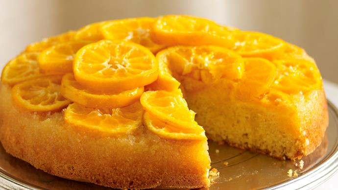 Mandarin and almond upside-down cake