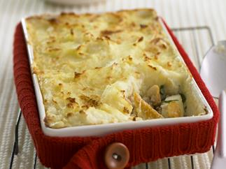 Old-fashioned fish and potato pie