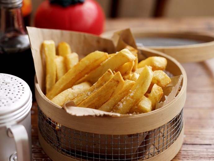 """**[Perfect hot chips](http://www.foodtolove.com.au/recipes/perfect-hot-chips-4718