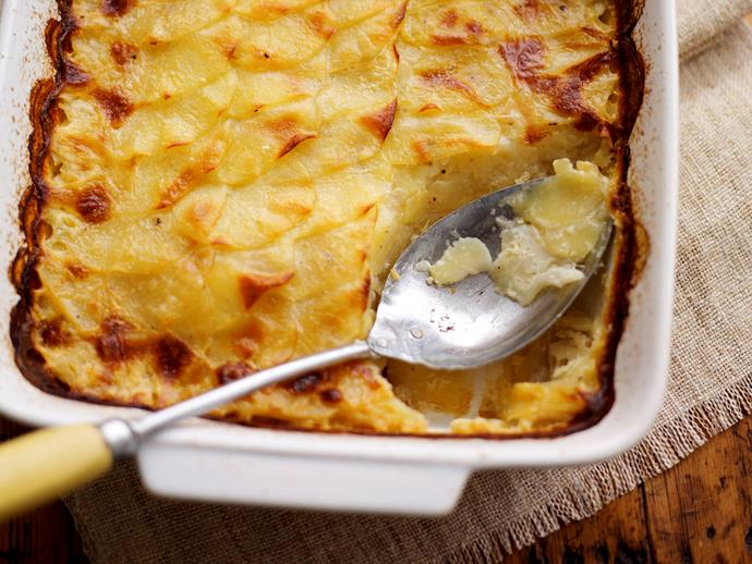 "This French classic [potatoes dauphinoise](https://www.womensweeklyfood.com.au/recipes/potatoes-dauphinoise-24255|target=""_blank"") is made with layers upon layers of finely sliced potatoes, cream, butter, garlic and cheese with a hint of nutmeg."