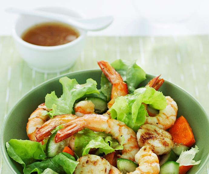 Prawn and Scallop Salad with Ginger Dressing