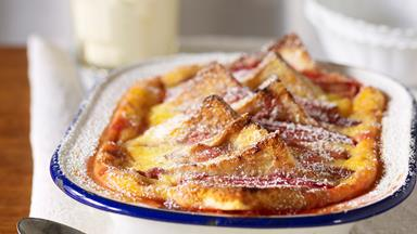 Rhubarb bread and butter pudding