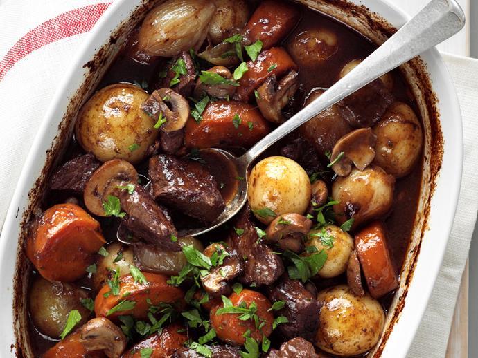 "**[Rich beef casserole](https://www.womensweeklyfood.com.au/recipes/rich-beef-casserole-24286|target=""_blank"")**"