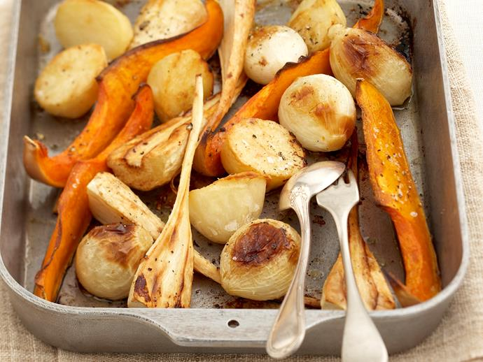 "**[Roast vegetables](https://www.womensweeklyfood.com.au/recipes/roast-vegetables-27253|target=""_blank"")**  Roasting enhances a vegetable's flavour and creates a perfect side dish. A mixture of roast potato, pumpkin, onion and parsnips are classic. Add zucchini, garlic, capsicum, eggplant, corn or carrot halfway through cooking for a change."