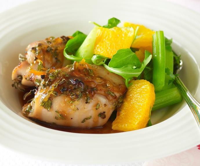 Roasted orange chicken with orange and rocket salad