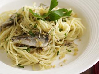 Sardines and Garlic Breadcrumb Spaghettini