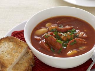 Smoky bean and chorizo tomato soup