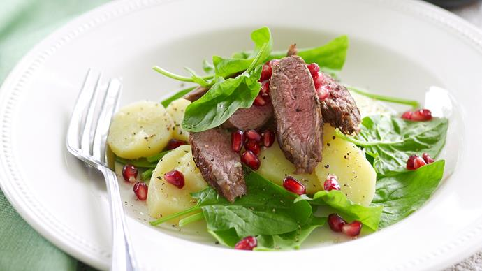 Warm lamb, potato and pomegranate salad